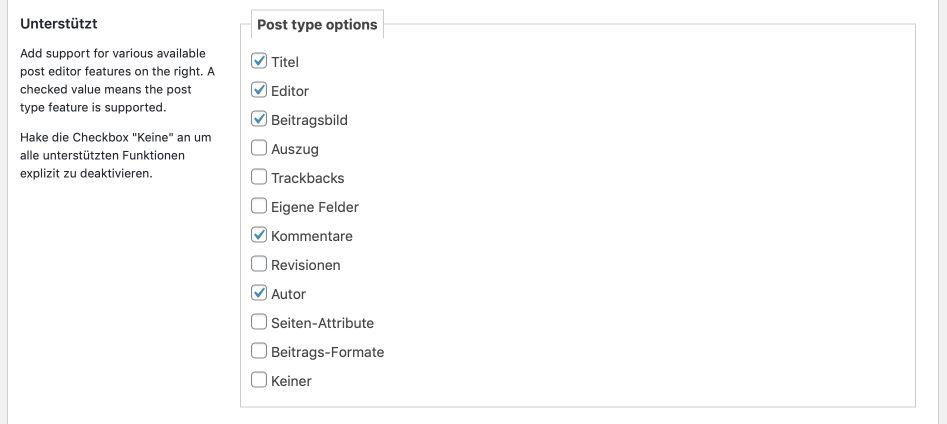 Optionen für den Post Type wählen