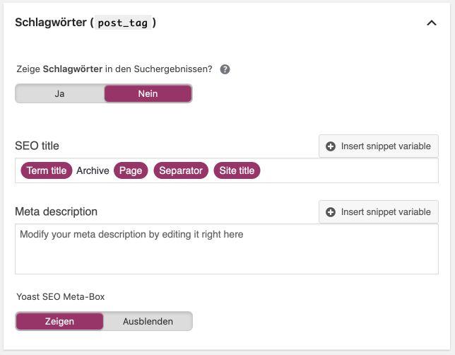 Schlagwörter in Yoast SEO für WordPress deaktivieren