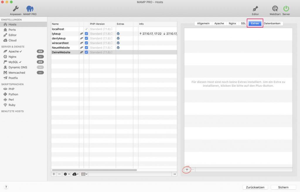 WordPress lokal über die MAMP Extras installieren