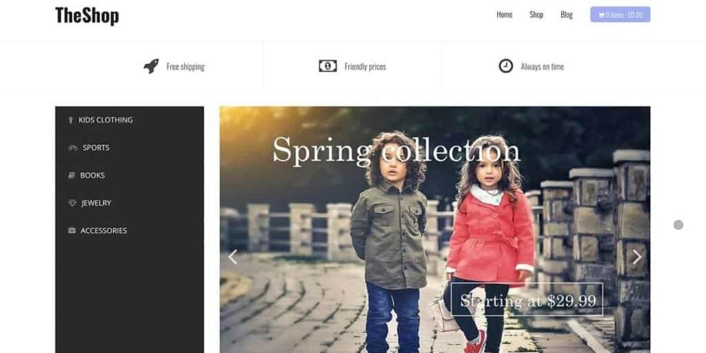 TheShop ist ein kostenloses Theme für WordPress eCommerce Seiten