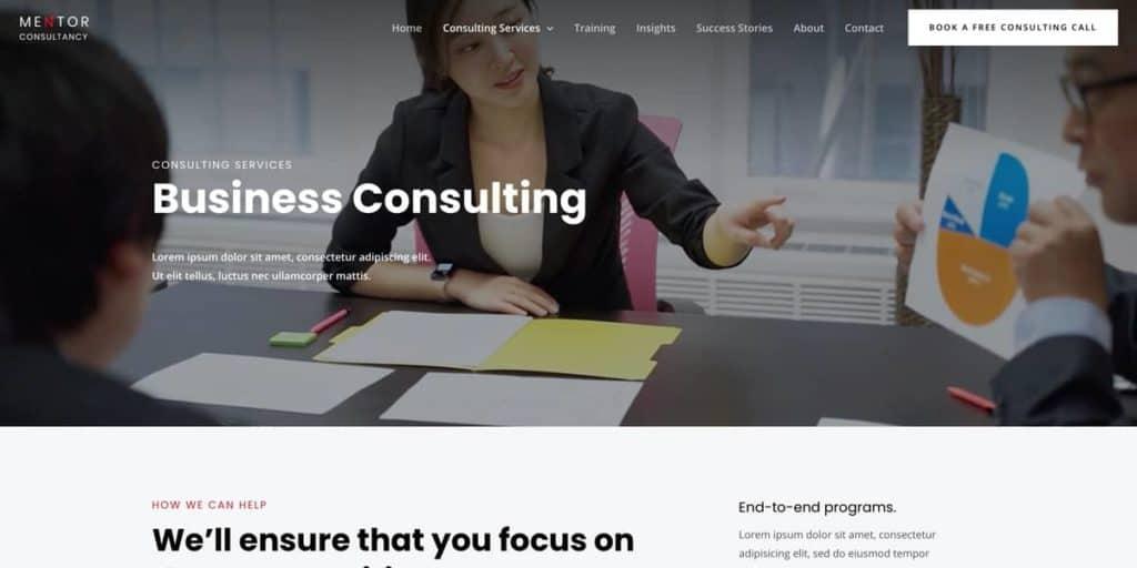 Erstelle beeindruckende Consulting Service-Seiten mit dem integrierten Page Builder Plugin