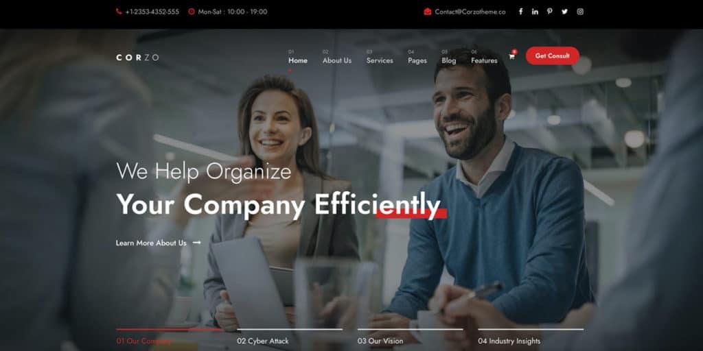Corzo ist eines der erfolgreichsten WordPress Templates für Consultants