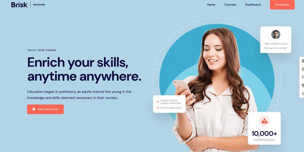 Brisk WordPress Theme für Landing Pages für Online Kurse