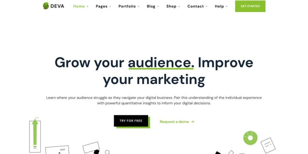 Deva Theme für WordPress Landing Pages