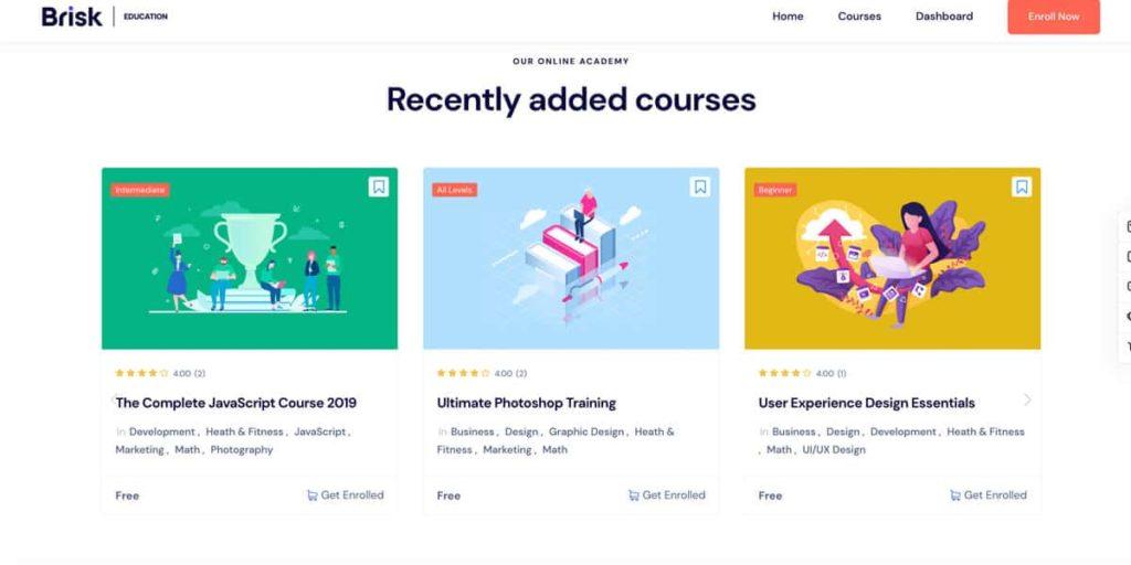 Mit dem Brisk Design lassen sich besonders gut Online Kurse verkaufen