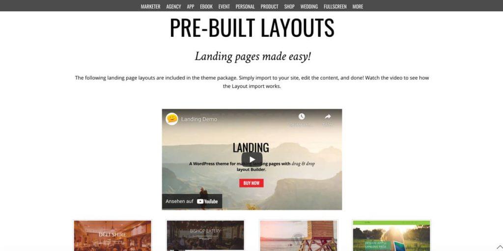 Fertige Layouts für Landing Pages