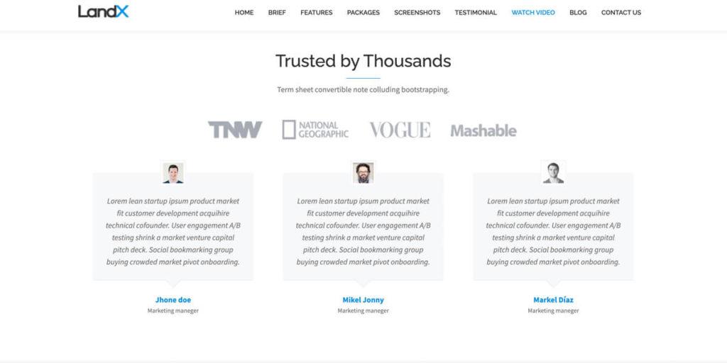 Trust Elemente wie Testimonials sind im Theme integriert