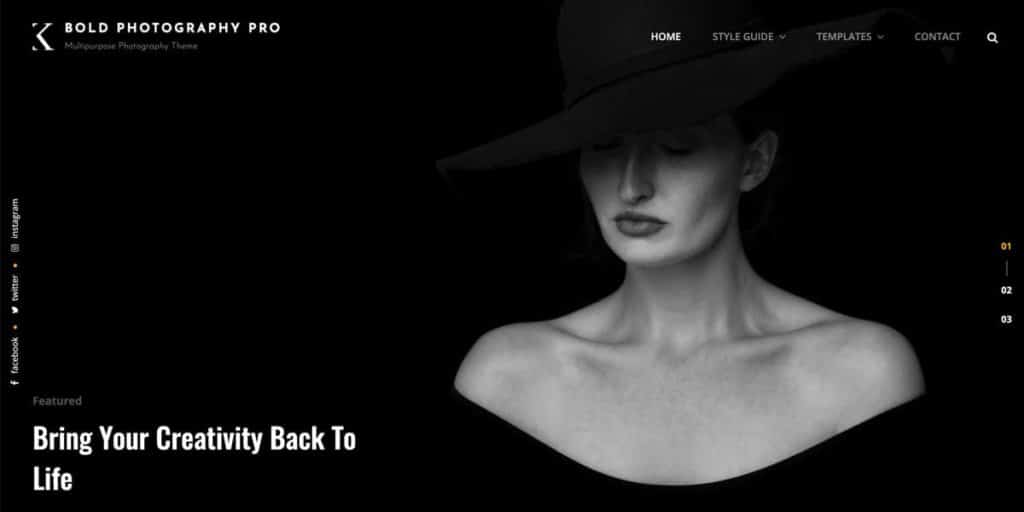 Bold is a free responsive photography design for WordPress