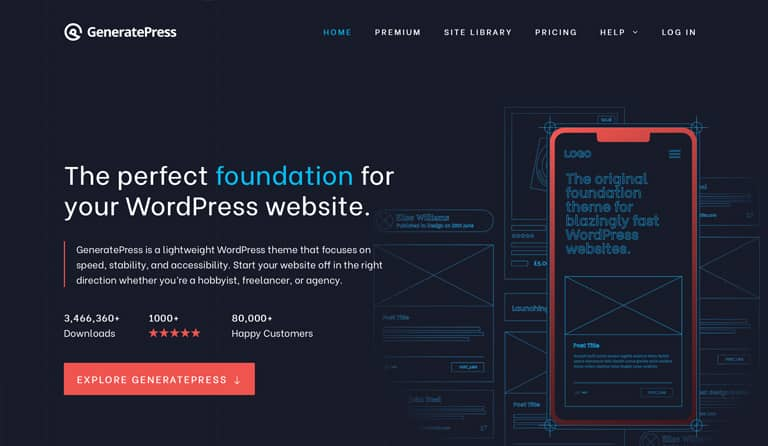 GeneratePress WordPress theme focus on loading times, stability and accessibility