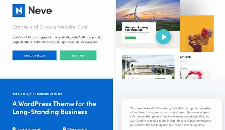 Neve is one of the WordPress themes with the best loading times