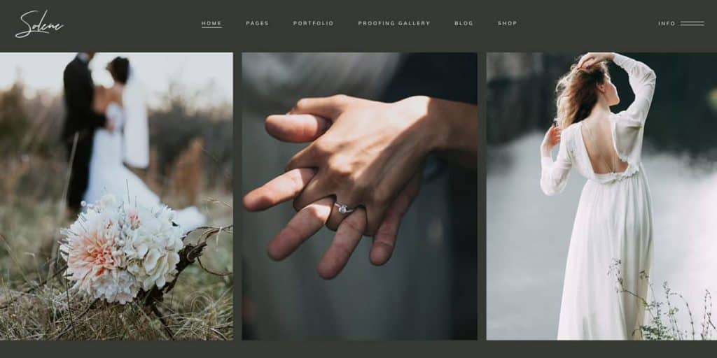 The WordPress template for wedding photographers offers a bunch of design choices