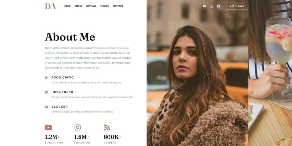 About me page WordPress blog theme
