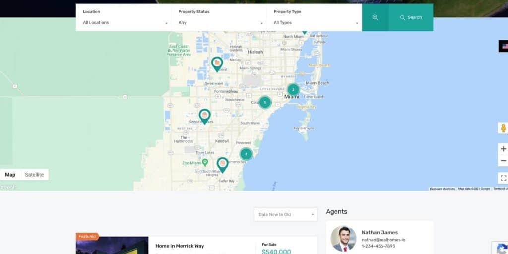 Property listings are easy to find with Google Maps and an advanced search included