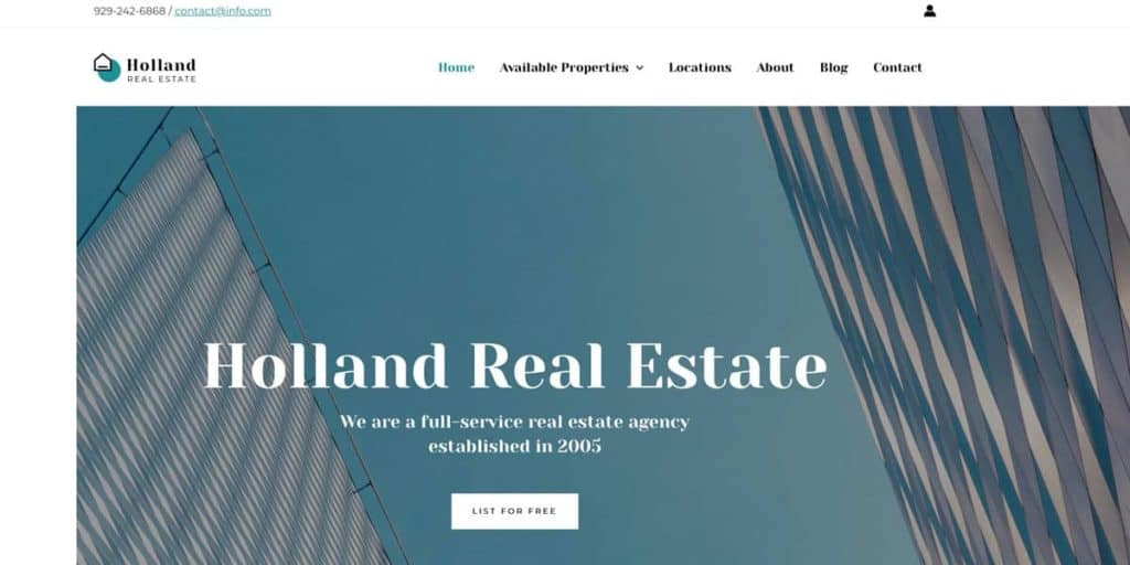 The real estate template is one of many designs of Astra theme
