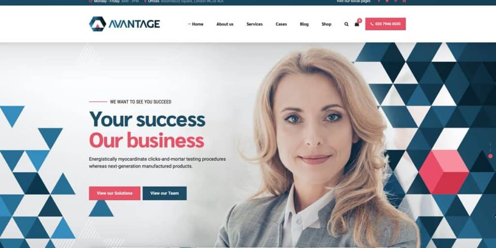 Avantage WordPress theme for consulting firms