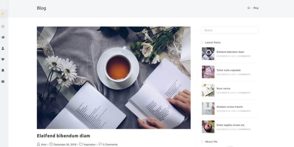 Minimal design of a blog layout