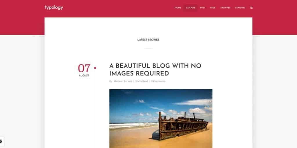 Typology theme's blog layout