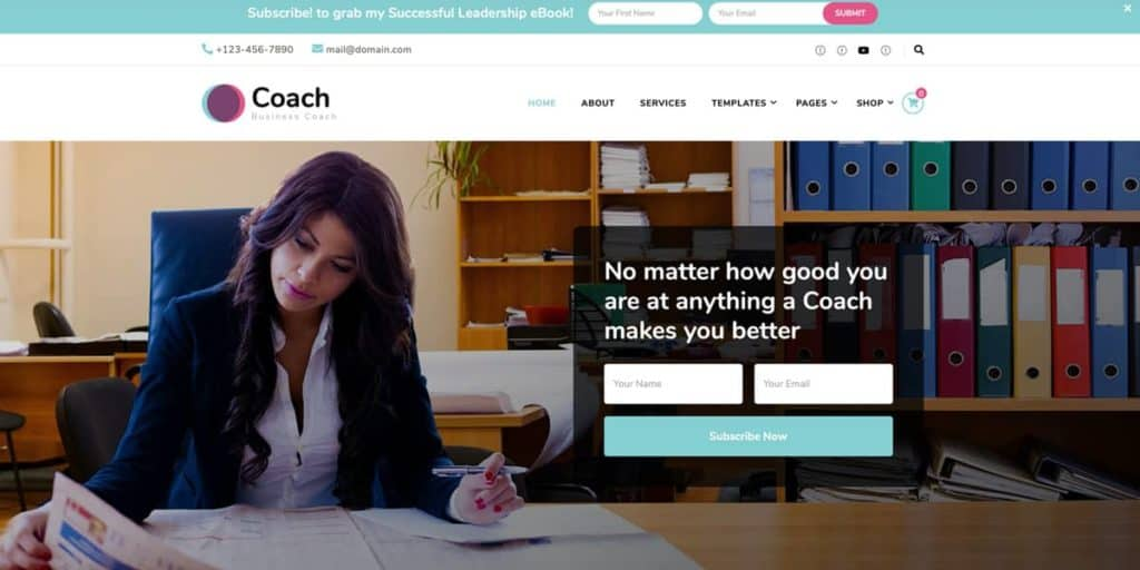 Blossom Coach Pro is a theme for individual coaches and consultants