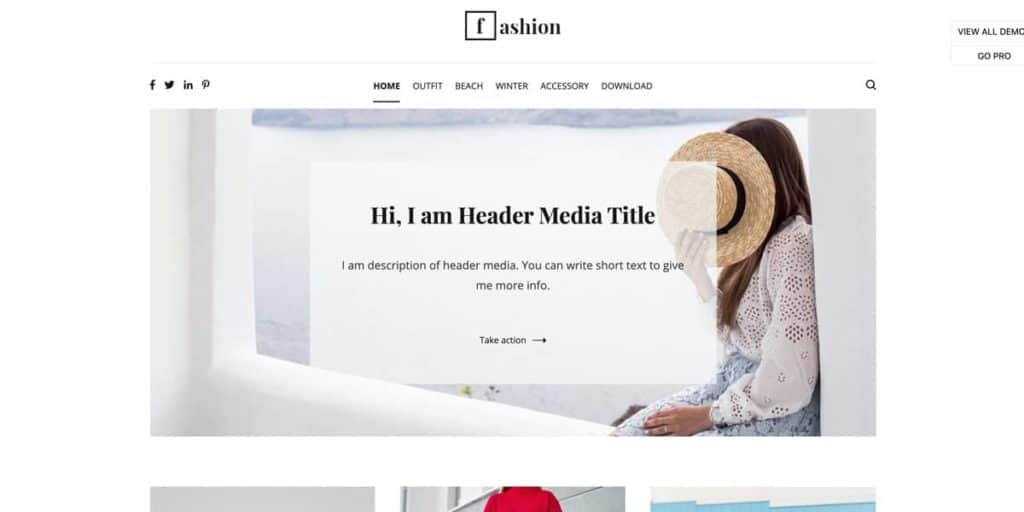 Cenote is a great free choice of a WordPress theme for fashion bloggers