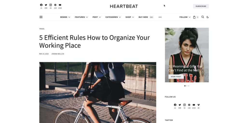 Super clean layout for blog posts