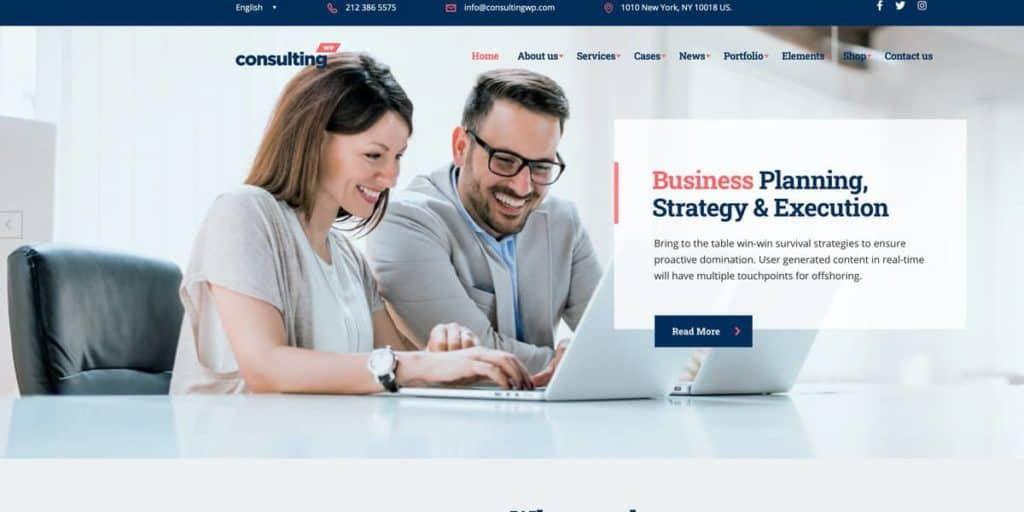 A dedicated theme for consulting professionals