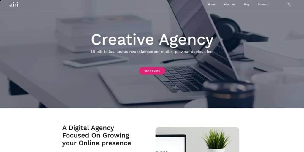 Airi is one of the most popular free WordPress themes for businesses