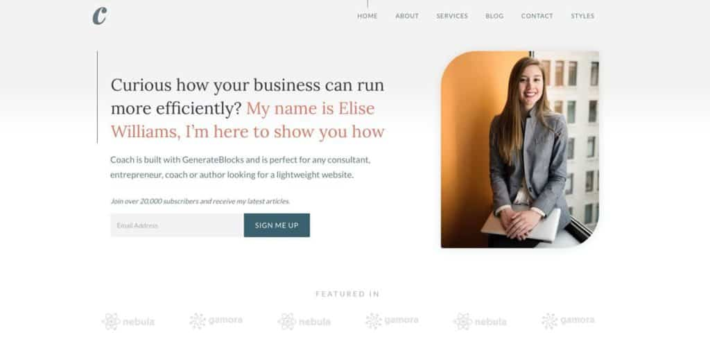 GeneratePress is a blazing fast theme for consultants