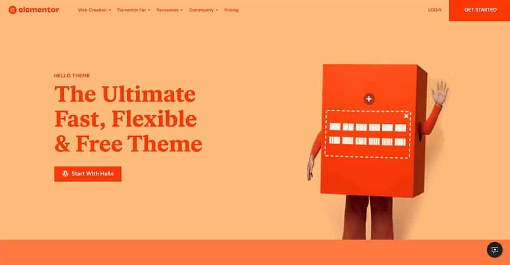 Hello Elementor is the free child theme to use in combination with Elementor page builder