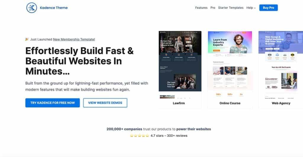 Kadence is one the most popular free WordPress themes