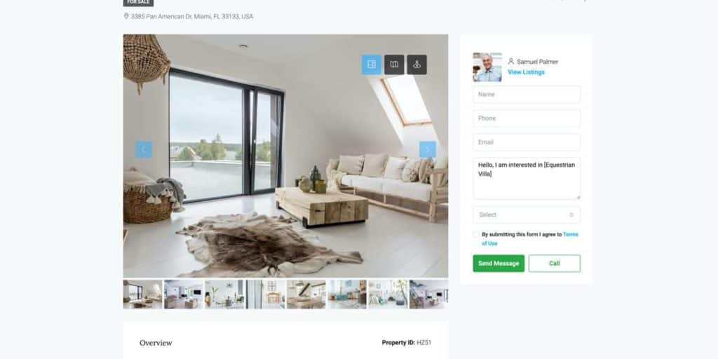 The property detail page shows all information about the house