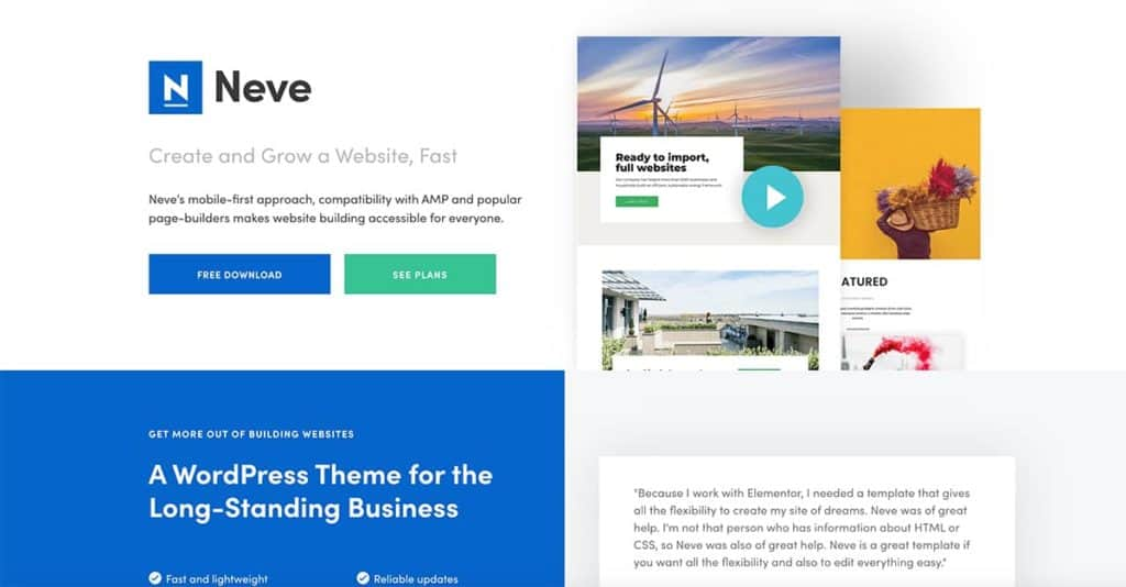Neve is one of the best known free WordPress themes