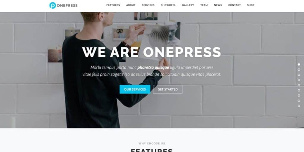 The only free one page WordPress theme on our list