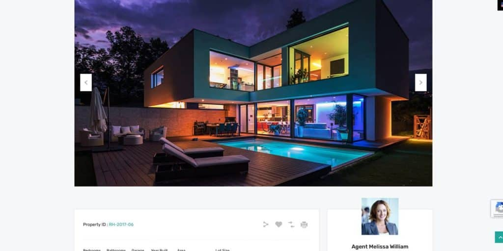 Property detail page with real estate agent contact in sidebar