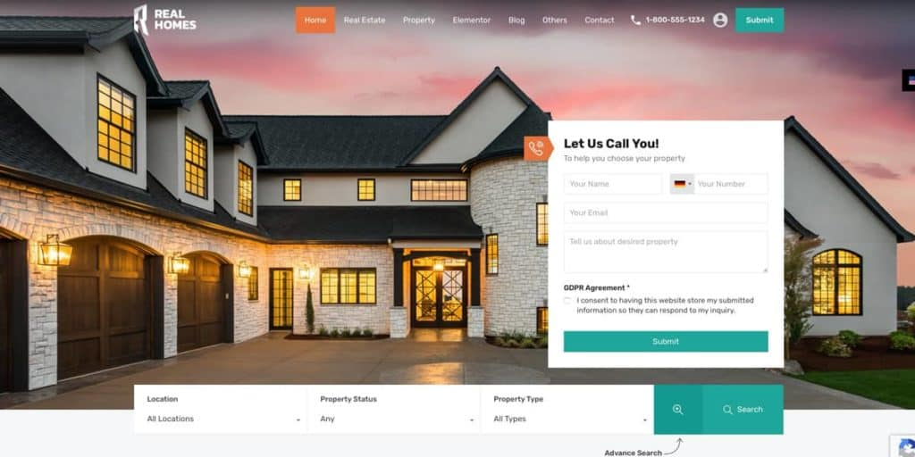 Real Homes is one of the best WordPress  themes for real estate agents and brokers