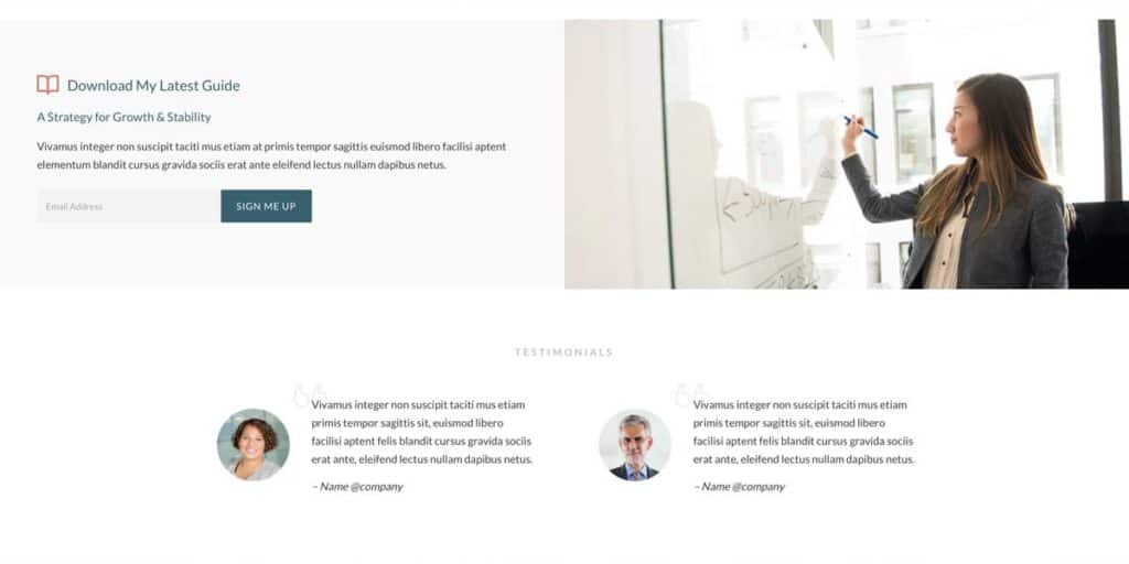 Use the visual builder for testimonials and your marketing campaigns