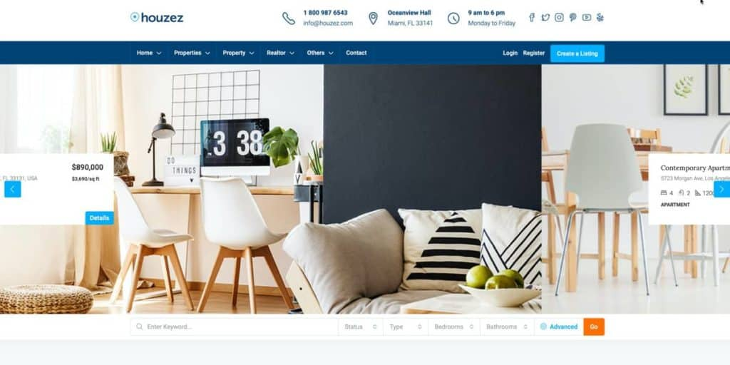 Houzez is one of the real estate WordPress themes we recommend