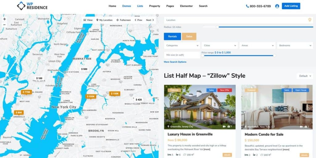 The Zillow style property search is perfect for agents and brokers