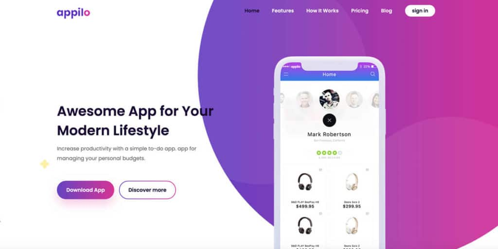 Appilo is a landing page template for mobile apps and digital products