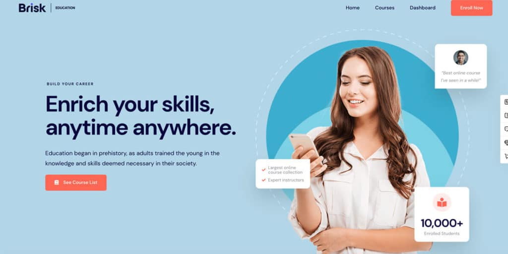 Brisk is a great landing page template for educational offers like online courses