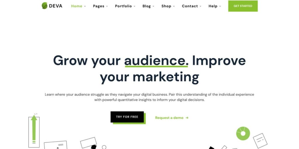 Deva theme offers multiple pre-made layouts for landing pages in WordPress