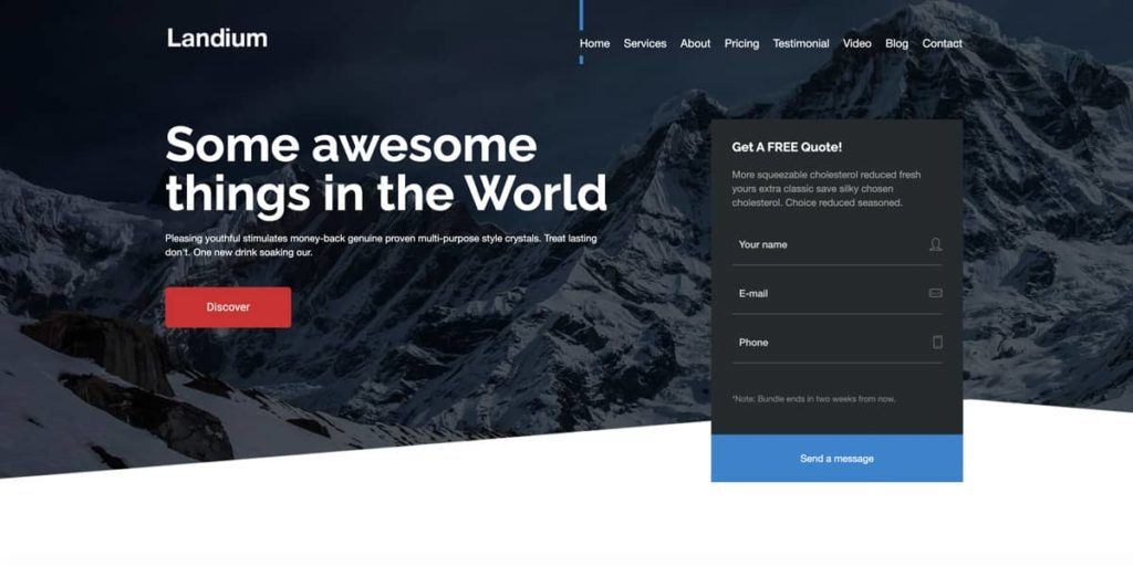 Landium is an awesome landing page theme for WordPress with integrated lead forms