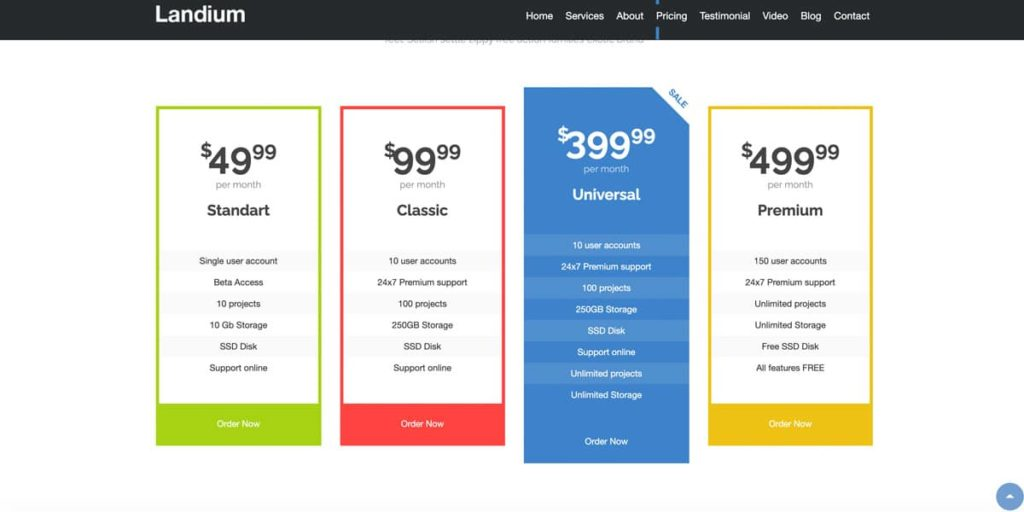 Pricing tables are included