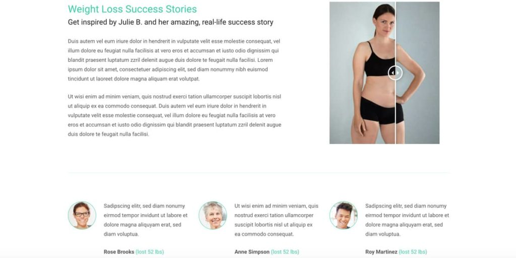 Testimonials and a before and after slider are part of the theme